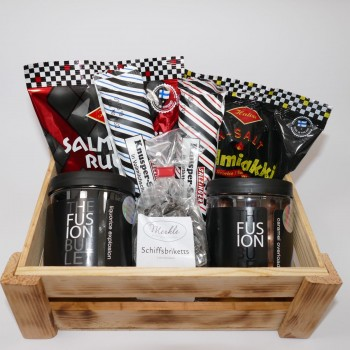 Lakritzbox, Geschenkbox aus Holz mit Lakritzspezialitäten