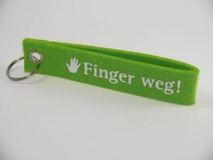 "Schlüssel-Filzhänger ""Finger weg!"""