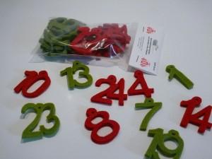 Adventskalenderzahlen aus Filz - 4,5 cm - rot/grün