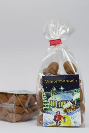 Wintermandeln, gebrannte Mandeln mit Kakao ummantelt