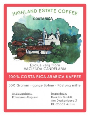 500 Gramm Costa Rica Kaffee  -Bohnen- Röstung: Mittel
