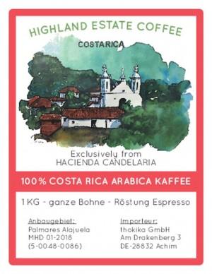 MHD 01-2018 / 5 x 1 kg Costa Rica Espresso -Bohnen-