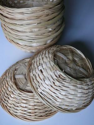 Osterkorb, Osternest, Bambuskorb rund natur, 23cmx7cm, 25er Set