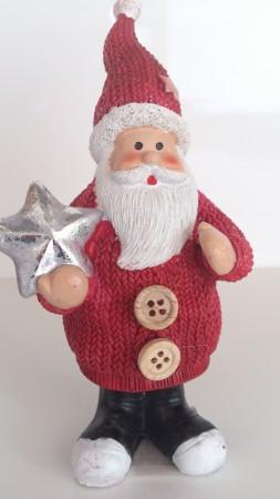 Weihnachtsmannfigur stehend, mit rotem Umhang, Höhe 14 cm
