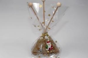 3 Stück Kandisstick Rohrohrzucker braun - weihnachtlich verpackt