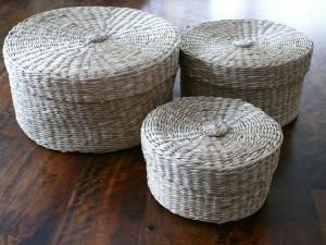 Korb-Set, Sisal, 3 Stück in runder Form