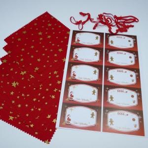 Hauben-/Deckchen für Marmeladengläser - 10er Set mit Festhaltegummis, 10 Weihnachts-Etiketten