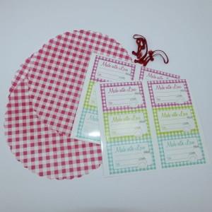Hauben-/Deckchen für Marmeladengläser - 3er Set mit Festhaltegummis, 12 eckige Etiketten