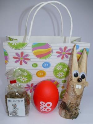Oster-Geschenktüte mit SOSO Chili Salzei, Hasenködel + Birkenhase