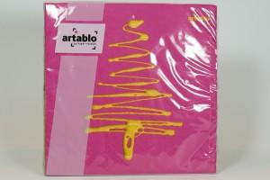Servietten - Tannenbaum gemalt, pink und mintgrün
