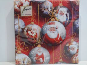 """Servietten - """"Santa Baubles Red"""" - Weihnachtsmann in Tannenbaumkugel"""