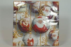 """Servietten - """"Santa Baubles white"""" - Weihnachtsmann in Tannenbaumkugel"""