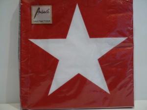 Servietten - Weihnachten, rot mit weißem Stern