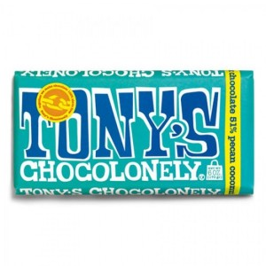 TONY´S CHOCOLONELY - Pekan- und Kokos-Zartbitterschokolade