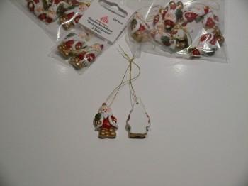 Weihnachtsmann-Geschenkanhänger - 3,5 cm - 10er Set