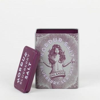 NORDUR HEIDELBEERSALZ (Metalldose+Schachtel), isländische Meersalzflocken mit Heidelbeeren, 200 Gramm