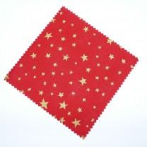 Hauben-/Deckchen für Marmeladengläser - weihnachtlich rot mit goldenen Sternen