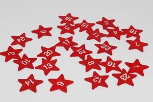 Holzsterne 1-24 Adventskalender - 3,5 cm - rot/weiß