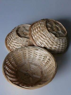 Osterkorb, Osternest, Bambuskorb rund natur, 15cmx5cm, 3er Set