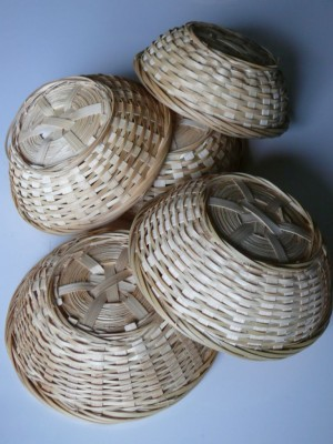 Osterkorb, Osternest, Bambuskorb rund natur, 15cmx5cm, 5er Set