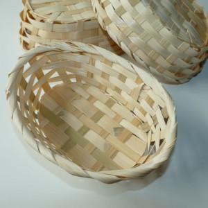 Osterkorb, Osternest, Bambuskorb oval natur, 19cmx13cm, 3er Set