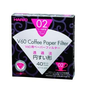 HARIO Papierfilter weiß für V60, VCF-02-40W, 40 Stück