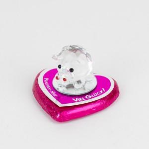 Silvester-/Neujahrs-Pralinenherz, mit Kristallglas-Glücksschwein und Schriftzug Viel Glück