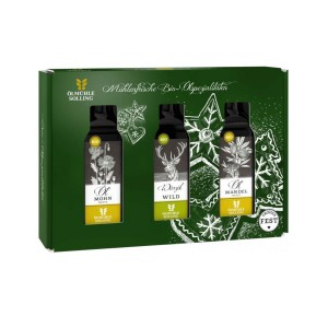 Geschenkset Weihnachtszeit 3 x 100 ml, Mohn-, Mandel-, Wildöl, EG Bio, Ölmühle Solling