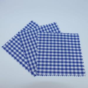 3 x Hauben-/Deckchen für Marmeladengläser - blau weiß kariert