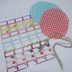 Hauben-/Deckchen für Marmeladengläser - 4er Set mit Kordel, 65 Etiketten