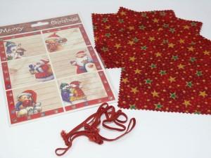 weihnachtliche Hauben-/Deckchen für Marmeladengläser - 6er Set mit Festhaltegummis und Weihnachts-Etiketten