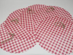Hauben-/Deckchen für Marmeladengläser - 5er Set rund mit Festhaltegummis