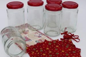 6er Komplettset weihnachtliche Hauben-/Deckchen mit Gläsern