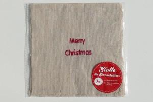 Hauben-/Deckchen für Keks- oder Marmeladengläser - merry christmas Schriftzug