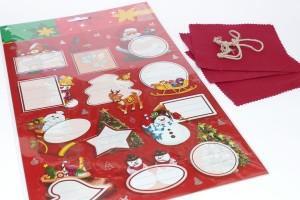 Hauben-/Deckchen für Marmeladengläser - 3er Set mit Festhaltegummis, 12 Weihnachts-Etiketten