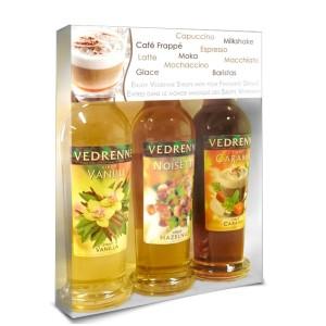 VEDRENNE - Barista Sirup-Geschenkset, 3 verschiedene Sirupflaschen in Geschenkverpackung