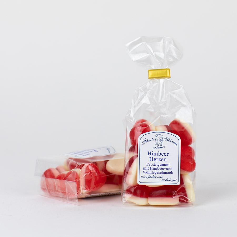 Himbeer Herzen, Fruchtgummi in Herzform mit Himbeer- und Vanillegeschmack
