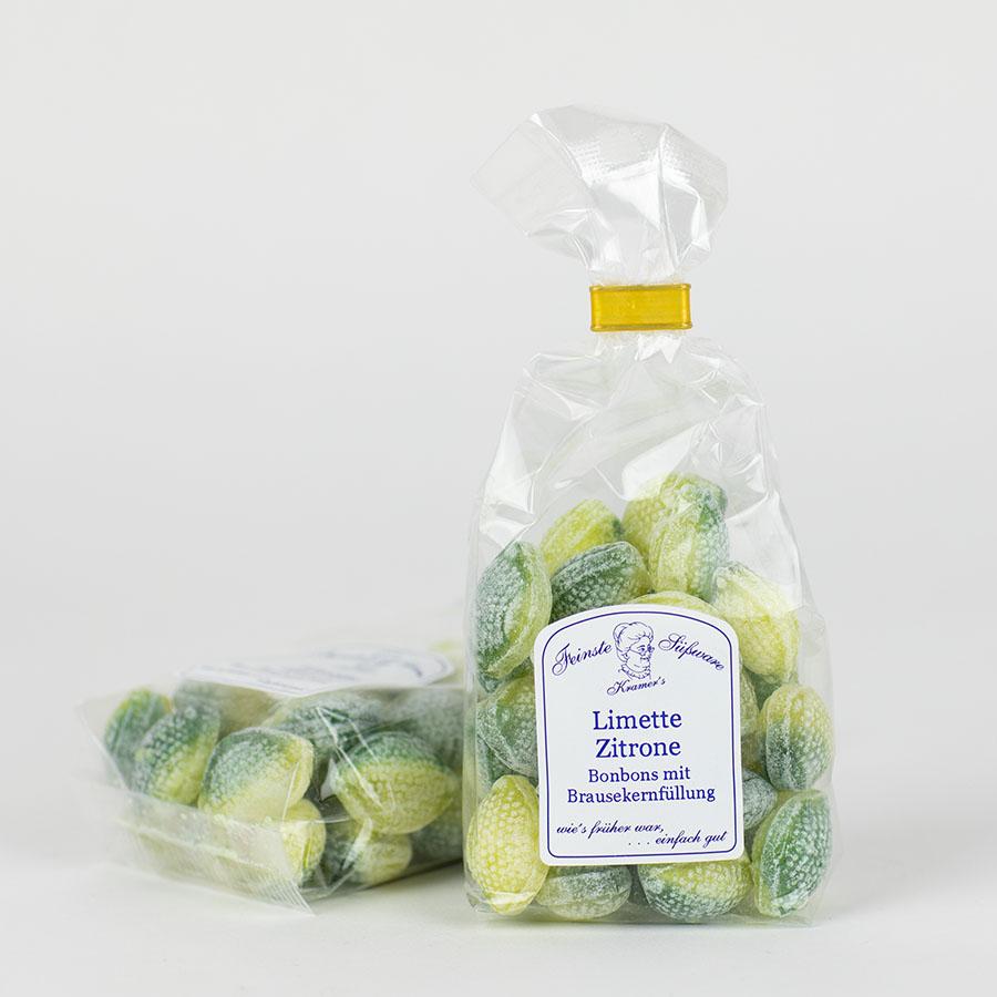 Limetten-Zitronen-Bonbons mit Brausekern