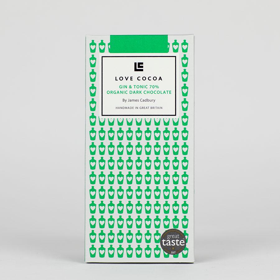 MHD 05-2020 / LOVE COCOA - 70 % - Gin & Tonic Edelbitter Schokolade, organic, vegan