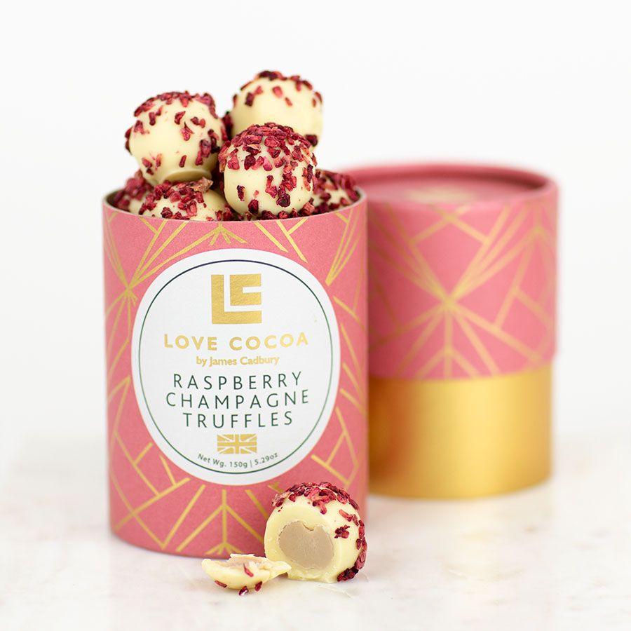 LOVE COCOA - Raspberry champagne truffles, handmade