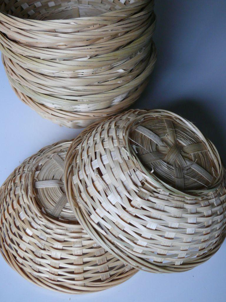 Osterkorb Osternest Bambuskorb Rund Natur 23cmx7cm 10er Set