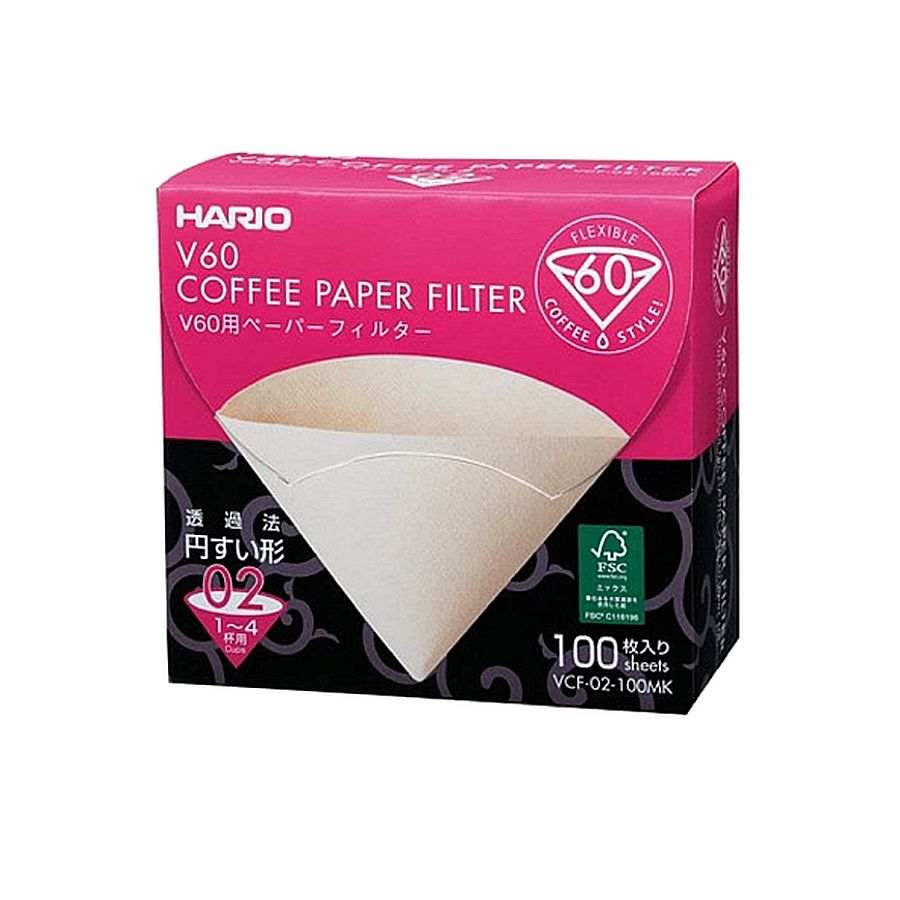 HARIO Papierfilter natürlich/unbgebleicht für V60, VCF-02-100MK, 100 Stück
