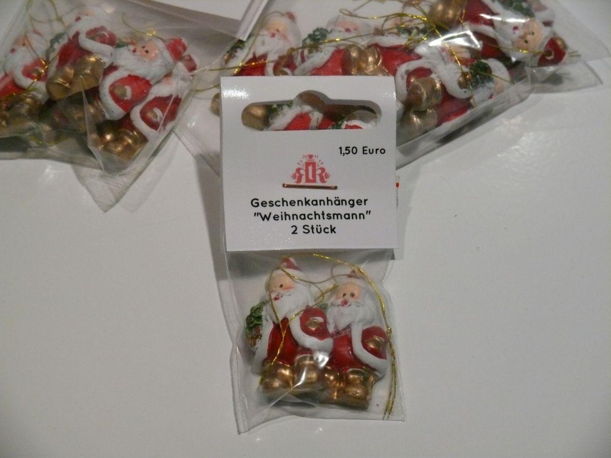 Weihnachtsmann-Geschenkanhänger - 3,5 cm - 2er Set