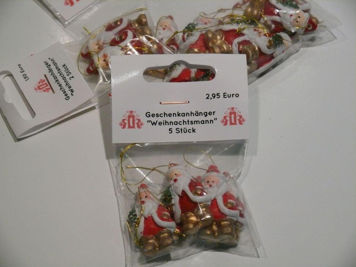 Weihnachtsmann-Geschenkanhänger - 3,5 cm - 5er Set