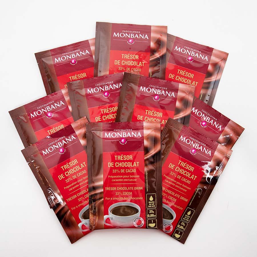 MHD 11-2019 / MONBANA-Trinkschokolade - Sorte Trésor de Chocolat - 10er Set